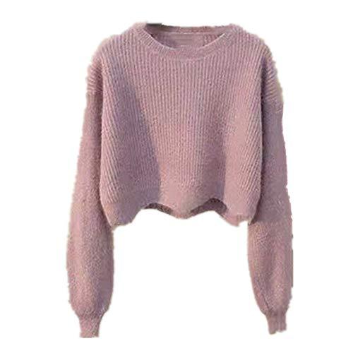N\P Las mujeres Suéteres de Punto Corto Otoño Invierno Suéter de las Mujeres de Punto Cuello Ondulado Dobladillo Pullovers Mujer Suéter