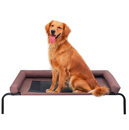 QZ Chewproof Dog Bed - Indoor Outdoor Orthopedic Elevated Pet Cot with Headrest,...