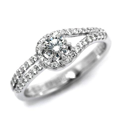 婚約指輪 ケース付 ダイヤモンド プラチナ 0.2カラット 鑑定書付 0.208ct Fカラー VS2クラス 3EXカット H&C CGL サイズ7号