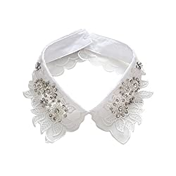 White Detachable Embroidered Flowers False Collar