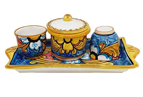 Sicilia Bedda - Kaffee-Set aus Sizilianischer Keramik - komplett mit Zuckerdose und Tablett - handwerkliches Produkt (Sizilianisches Schweinchen, Set mit 2 Tassen)