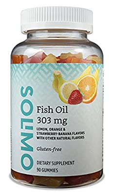 Amazon Brand - Solimo Fish Oil 303 mg, 90 Gummies (2 Gummies per Serving), EPA and DHA Omega-3 fatty acids