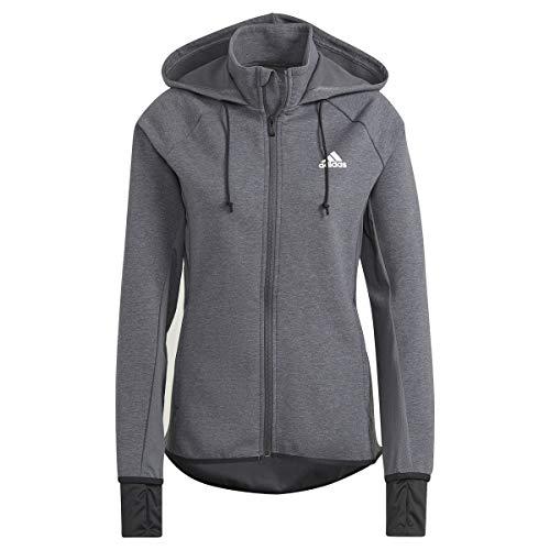adidas GL3964 W MT FZ HD Sweat Womens Dark Grey Heather/White XS