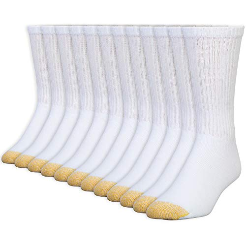 Gold Toe Men's 656S Cotton Crew Athletic Sock MultiPairs, White (12 Pairs), Shoe Size: 6-12.5