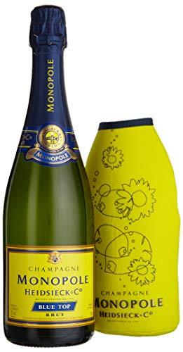 Monopole Heidsieck Blue Top Brut Champagner mit gelber Neoprenkühlmanschette