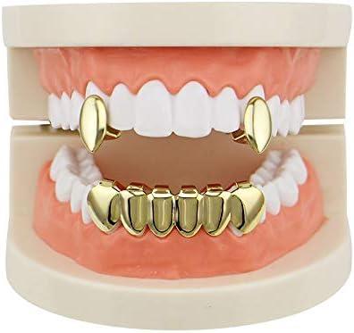 OOCC 18k Gold Vampire Dracula Teeth Grillz 2pc Single Fangs and 6 Bottom Grillz Set