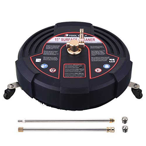 Tool Daily 15 Inch Pressure Washer Surface Cleaner Attachment with Wheels, with 2 Power Washer Extension Wands and 2 Replacement Nozzles, 3600 PSI