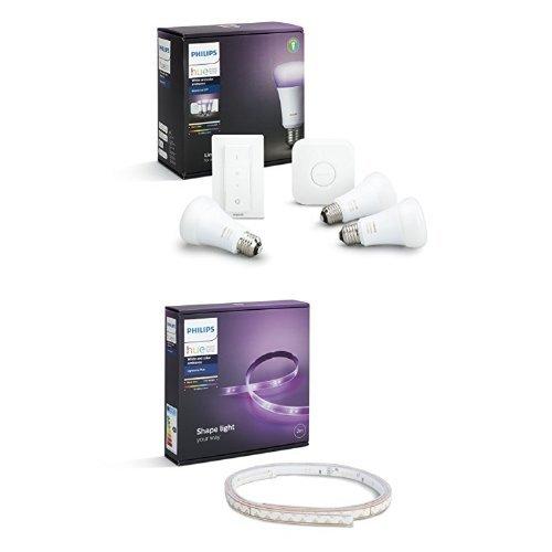 Philips Hue White and Color Ambiance Starter Kit con 3 Lampadine E27, 1 Bridge e 1 Telecomando Dimmer Switch + Hue Lightstrip Striscia LED da 200 cm, Kit Base con Alimentatore, Estendibile fino a 10 m