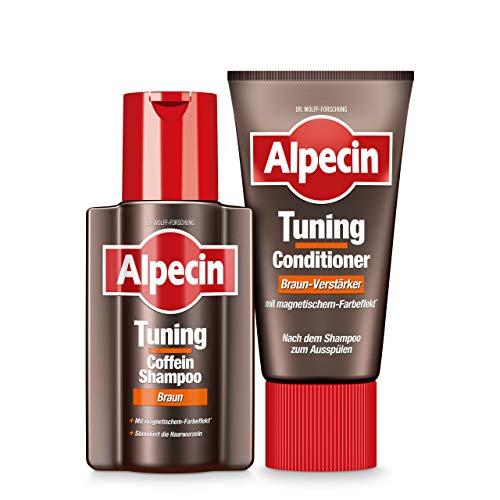 Alpecin Tuning Coffein-Shampoo Braun 1 x 200 ml und Tuning-Conditioner Braun-Verstärker 1 x 150 ml – Farb-Tuning bei jeder Haarwäsche