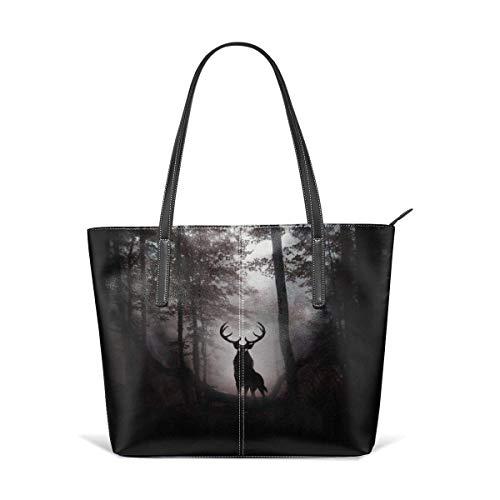 BAODANLA Borse a spalla da donna Women's Soft Leather Tote Shoulder Bag Deer Big Capacity Casual Portable Handbag Purses Work Travel Bag