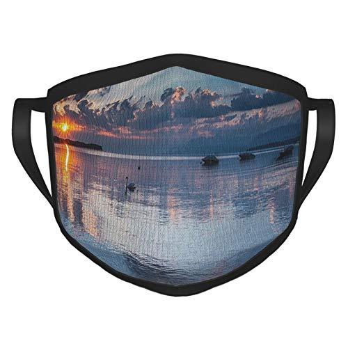 xmy - Bufanda reutilizable para la cara, paisaje, sol en el lago de Ginebra, Suiza, paisaje marino, cielo nublado, vista panorámica, foto azul, gris, naranja
