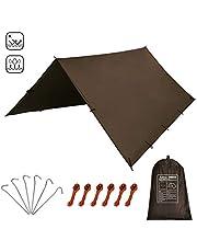 KALINCO Lona para tienda de campaña para hamaca, protección contra la lluvia, toldo para camping, impermeable, anti UV (marrón 3 x 3 m)