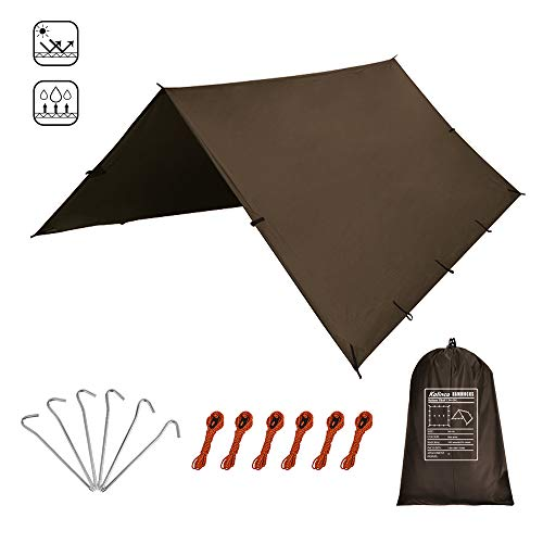 KALINCO Zeltplane Tarp für Hängematte Regenschutz Sonnensegel für Ourdoor Camping Wasserdicht Anti-UV (Braun 3X3M)