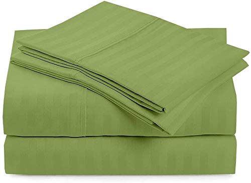 4 PCs Bed Sheets Set, 100% Egyptian Cotton Silky Smooth, Cooling 400 Thread Count Long Staple Combed Cotton, 18 Inch Deep Pocket of Fitted Sheet, Sage Stripe, Full Size