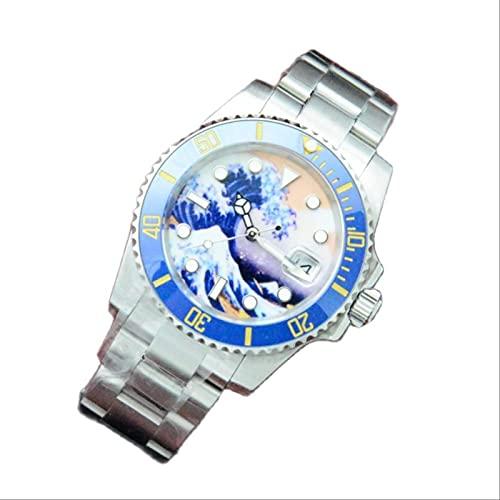 Relojes Moda Acero Inoxidable Caja De Plata Kanagawa Surf Dial Fecha Luminoso Hombres Casual Lujo Reloj Mecánico Automático 40Mm Multicolor