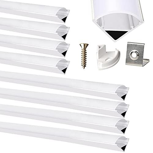 8er-Pack Integrales LED Aluminium Profil 0,5M und 1M Eckfläche montiertesmit Diffusor (Abdeckung) Innendurchmesser 12mm Breite Einsatz für LED-Streifen, Strips Licht
