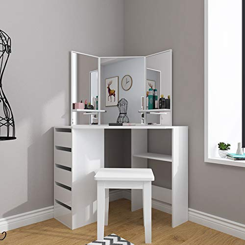 Makeup Vanity Desk with Mirror & Drawers, Dressing Table for Girls Women, Modern Bedroom Corner Freestanding Floor Storage Cabinet with Shelves, Not Indlude Bench(US Stock)(White)