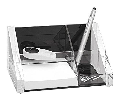 Wedo 605101 Butler Acryl Exclusiv, 3 Fächer, Zettelbox inkl. 150 Blatt Papier Rutschfeste Gummifüße, glasklar/schwarz