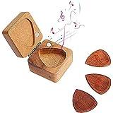 ギターピック ウッドピック なくさない ティアドロップ型 2.5mm 天然木製 ピックホルダー 手作業ピックケース 高級品 ギター中級者~高級者に適用 速弾き 父の日 母の日 クリスマス 誕生日 進学祝 就職祝 出産祝 結婚祝 新築祝 (3枚セット)