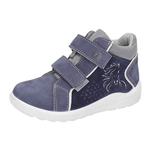 RICOSTA Kinder Stiefel Wendy, Weite: Mittel (WMS),Soundeffekt, verspielt detailreich Boots Klett-Stiefel Kinder,Nautic/Patina,32 EU / 13 Child UK