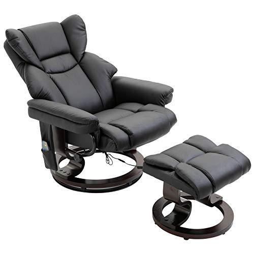 HOMCOM Massagesessel mit Fußhocker Relaxsessel Heizfunktion 145°-Neigung PU Schwarz 79 x 82 x 101 cm