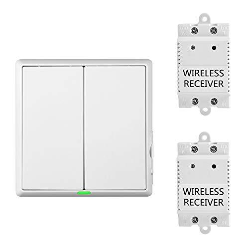 2-Wege Küche Keller Wireless Lichtschalter mit Empfänger Funk Schalter Kit Außen 60M Drinnen 20M Ferngesteuert Deckenlampe Max Belastung1100W RF 433MHz