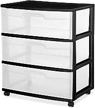 3 Drawer Wide Cart Black Storage Plastic