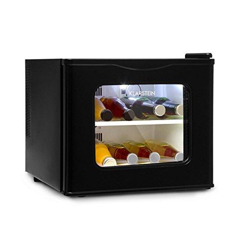 KLARSTEIN Winehouse - Minibar, Mini frigo 17 Litri, Frigorifero per Bevande, 60 W, Classe A++, Porta di Vetro, da 8 a 18 Gradi, Silenzioso, Vetratura Doppia e alloggiamento in Acciaio, Nero