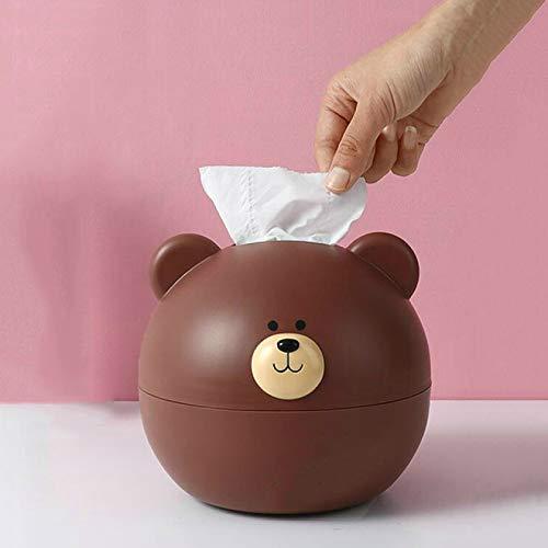 SIMEISM Caja de pañuelos resistente creativa con diseño de oso pequeño organizador para decoración de la habitación del hogar