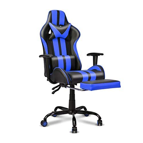 Video Gaming Chair,E-Sports Chair,Office Chair,PC Gaming Chair,Racing Style Massage Racing Chair with Height Adjustment, Lumbar Support,Headrest,Retractable Footrest(Racing Yellow)