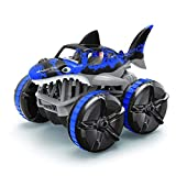 YU-NIYUT 2.4G Waterproof Remote Control Amphibious Grass Land Driving Shark Car with Breathing Light Four-Wheel Drive Racing Car RC Car Toys, RC Products, The Choice of RC Enthusiasts