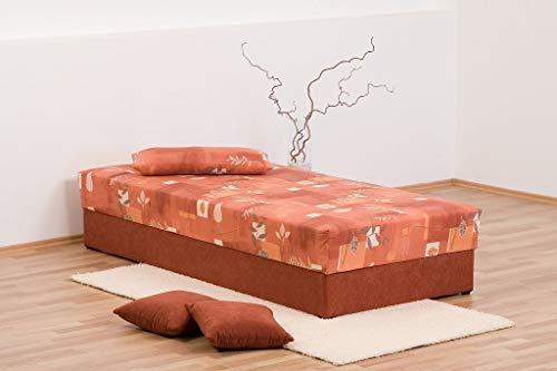 Dreams4Home Polsterliege 'Kampen I'-Gästebett,mit Bettkasten,rot braun Gemustert, Liegefläche:120x200 cm, Härtegrad:Härtegrad 2