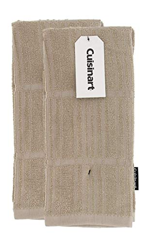 Cuisinart Bamboo Kitchen Towels, 2pk Tan – Soft, Absorbent, Anti-Microbial Kitchen Hand Towel Set – Perfect for Drying Dishes or Hands, 16 x 26 Inches – Bamboo Cotton Blend