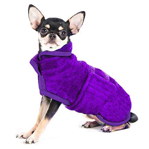 PETTOM Albornoz para Perros Ajustable, Toalla de Secado para Mascotas de Microfibra, Toalla de baño súper Suave Lavable a máquina (S, Morado)