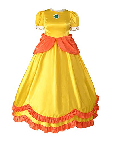 miccostumes Women's Plus Size Yellow Princess Daisy Cosplay Costume Dress (1X/2X, Yellow)
