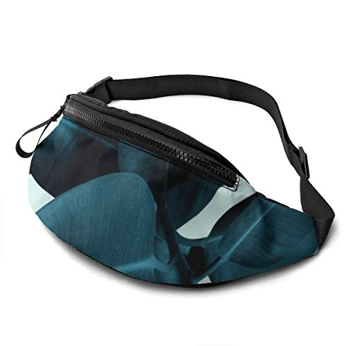XCNGG Laufende Hüfttasche Freizeit Hüfttasche Hüfttasche Mode Hüfttasche Blue Leaves Belt Bag 13.7 X 5.5 inch Unisex Running Waist Packs Fashion Casual Waist Bag, Can Hold Small Objects Such As ID Car