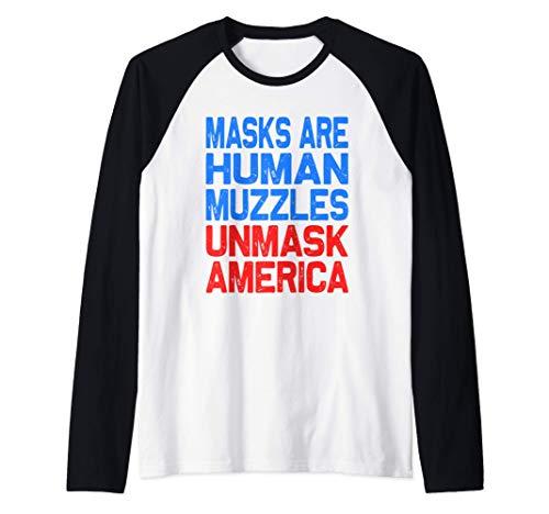 Masks Are Human Muzzles Unmask America Raglan Baseball Tee