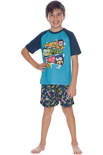 Teen Titans Go! Conjunto de pijama curto para meninos com estampa de pizza, Azul, 6-7