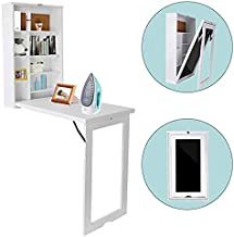 TILEMALL Fold Out Wall Mounted Convertible Writing Floating Desk - White