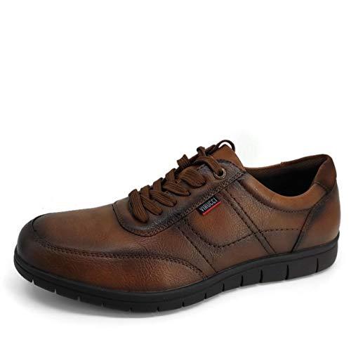 Virucci- Zapatos de Hombre con Cordones Marrón/Zapatilla Cásual Vestir/Zapato Comodón Chico/Flexible para Caminar (41)