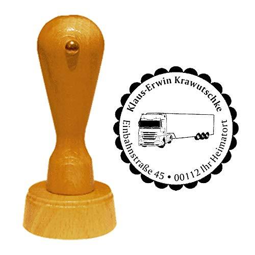 Stempel adresstempel « vrachtwagen » diameter ca. Ø 40 mm - met persoonlijk adres, motief en sierrand - Transporttruck