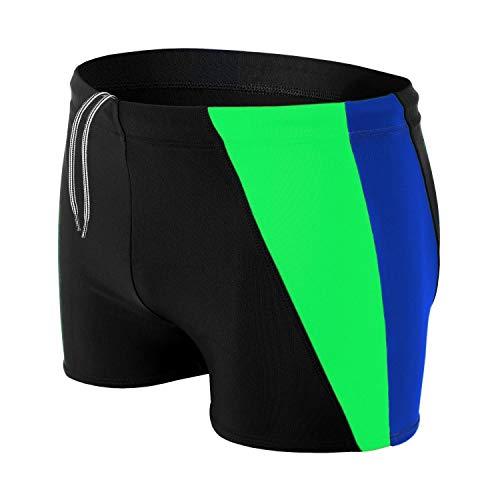 Aquarti Herren Badehose Kurz mit Seitlichem Streifen, Farbe: Schwarz/Kornblumenblau/Grün, Größe: L
