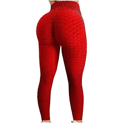 Pantalones de Yoga para Mujer para Mujer, Leggings de Yoga de Cintura Alta para Levantamiento de Glúteos y Talla Grande para Fitness (Color : Red, Size : M)