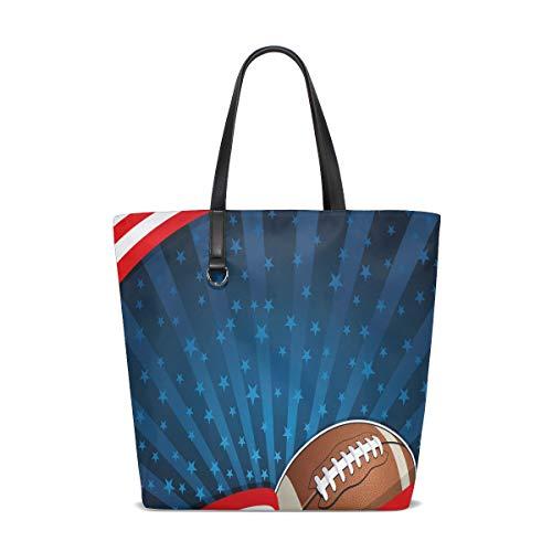 BKEOY Große Damen Handtasche Schultertasche American Football Abstrakt Streifen Sterne Tote Reißverschluss Einkaufstasche Organizer Taschen