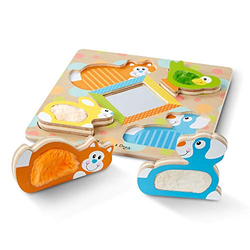 Image of the Melissa & Doug First Play Wooden Touch & Feel Puzzle, Peek-a-Boo Pets (4 Textured Pieces and Mirror)