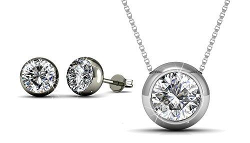 Yolora oorbellen set - Swarovski kristal - Zilverkleurig - Dames sieraden geschenkset - Oorbellen en ketting met hanger - YO-016
