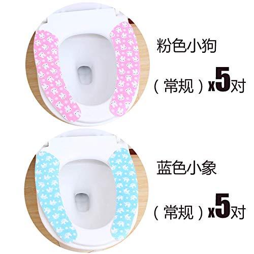 BAOZIV587 Toiletbril Kussen Plaktype Toilet Stick met Zomer Waterdichte Toiletbril Kussen Toiletstickers, Blauw Olifant 5 Pairs + Poeder Puppy 5 Pairs