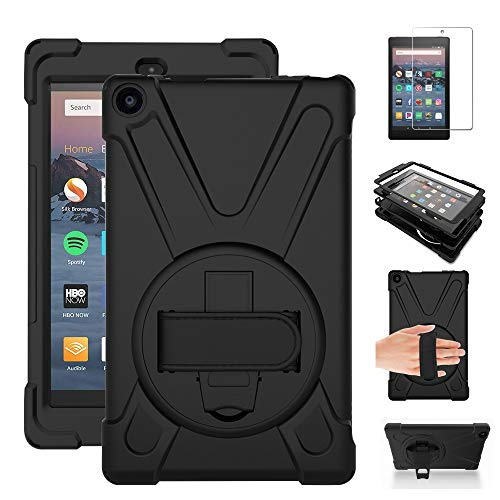 Gzerma Shockproof Case for Fire HD 8 2016 Release - Kids Proof Heavy Duty Rugged Protective Cover with Rotatable Kickstand, Screen Protector for Amazon Fire HD8 8.0 Inch Tablet (6th Generation), Black