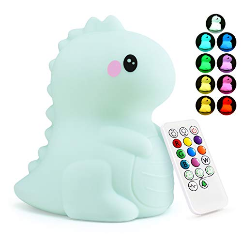 Dinosaur Kids Night Lights -USB Rechargeable Animal Silicone Lamps with Touch Sensor and Remote...