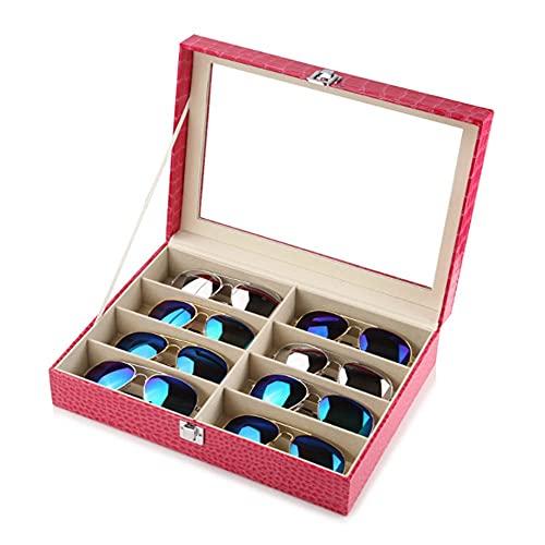XZQ Caja Organizadora De Exhibición De Cuero para Gafas De Sol para Gafas 8/12, Estuche De Almacenamiento para Gafas De Sol De Alta Gama, (Color : Pink, Size : 34x19.5x15.5cm)